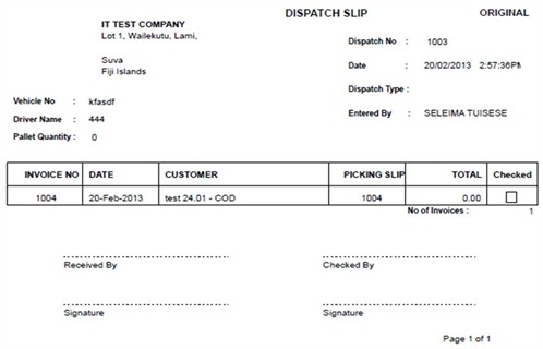 Sample Dispatch Slip Original  Dispatch Note Template